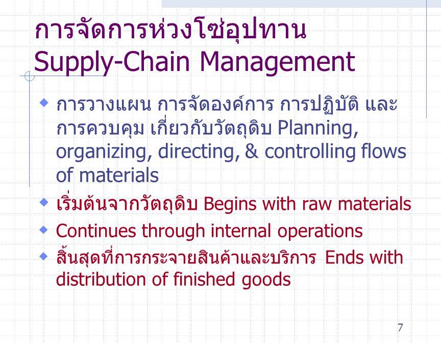 7  การวางแผน การจัดองค์การ การปฏิบัติ และ การควบคุม เกี่ยวกับวัตถุดิบ Planning, organizing, directing, & controlling flows of materials  เริ่มต้นจาก