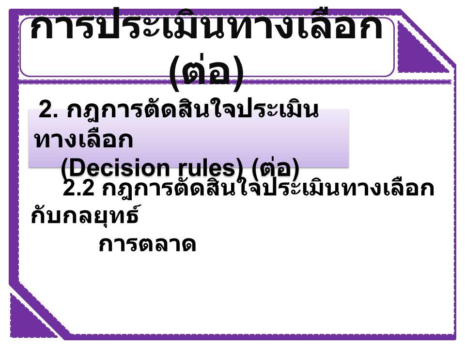 การประเมินทางเลือก ( ต่อ ) 2. กฎการตัดสินใจประเมิน ทางเลือก (Decision rules) ( ต่อ ) 2. กฎการตัดสินใจประเมิน ทางเลือก (Decision rules) ( ต่อ ) 2.2 กฎก