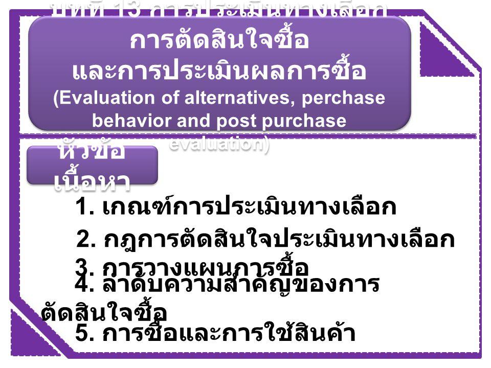 หัวข้อ เนื้อหา 1. เกณฑ์การประเมินทางเลือก 2. กฎการตัดสินใจประเมินทางเลือก 3. การวางแผนการซื้อ 4. ลำดับความสำคัญของการ ตัดสินใจซื้อ 5. การซื้อและการใช้