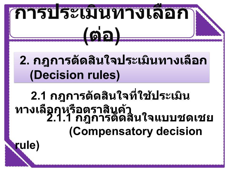 การประเมินทางเลือก ( ต่อ ) 2. กฎการตัดสินใจประเมินทางเลือก (Decision rules) 2. กฎการตัดสินใจประเมินทางเลือก (Decision rules) 2.1 กฎการตัดสินใจที่ใช้ปร