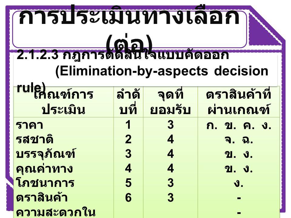 การประเมินทางเลือก ( ต่อ ) 2.1.2.4 กฎการตัดสินใจเลือกเกณฑ์ที่ สำคัญที่สุด (Lexicographic decision rule)