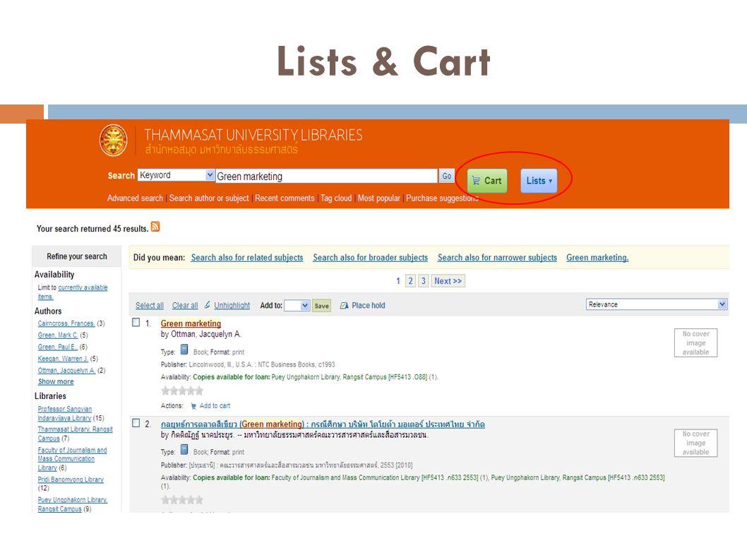 Lists & Cart