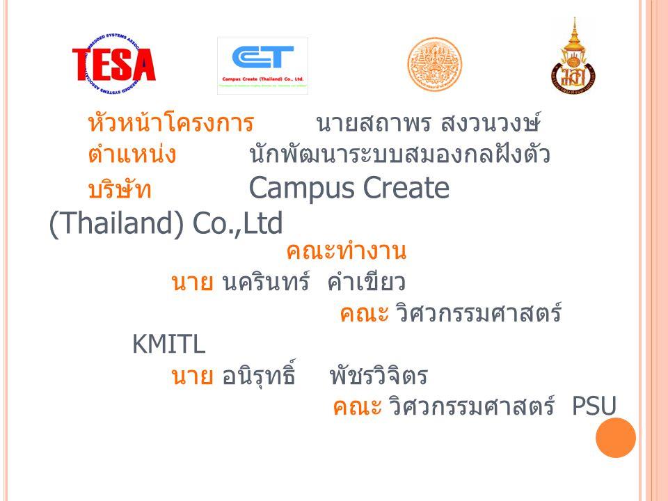 หัวหน้าโครงการ นายสถาพร สงวนวงษ์ ตำแหน่งนักพัฒนาระบบสมองกลฝังตัว บริษัท Campus Create (Thailand) Co.,Ltd คณะทำงาน นาย นครินทร์ คำเขียว คณะ วิศวกรรมศาสตร์ KMITL นาย อนิรุทธิ์ พัชรวิจิตร คณะ วิศวกรรมศาสตร์ PSU