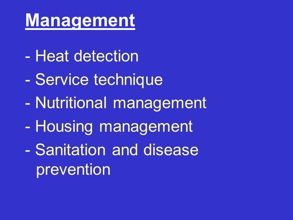 Management - Heat detection - Service technique - Nutritional management - Housing management - Sanitation and disease prevention