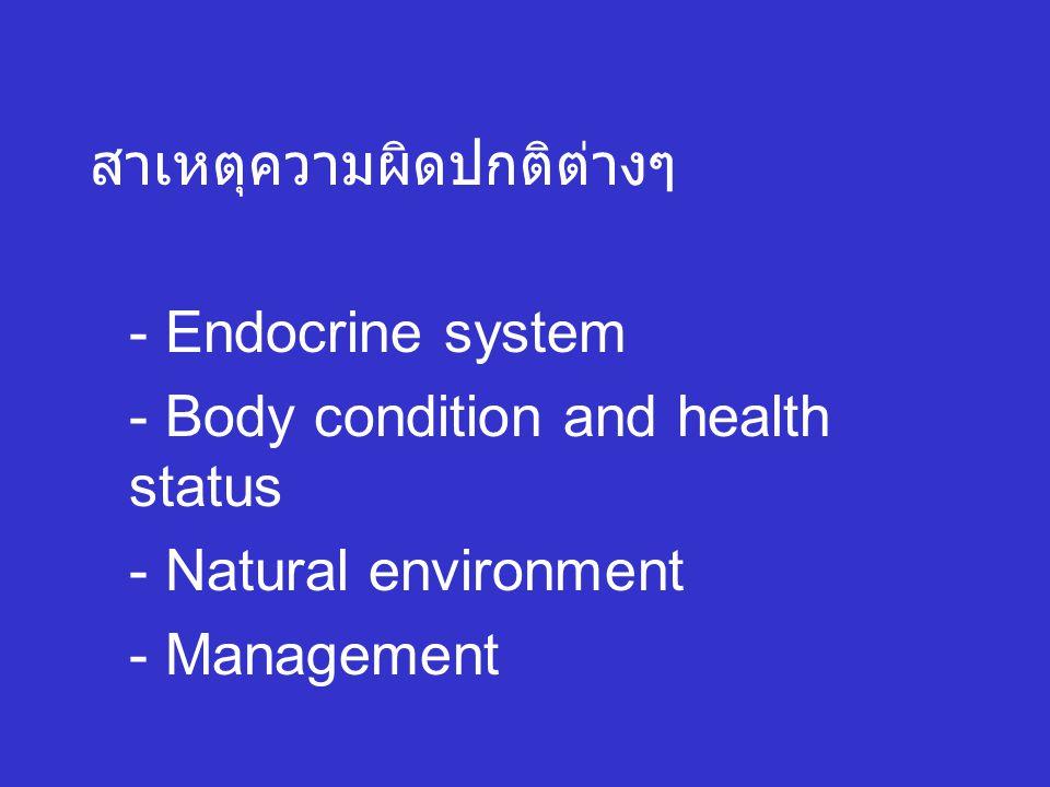 สาเหตุความผิดปกติต่างๆ - Endocrine system - Body condition and health status - Natural environment - Management