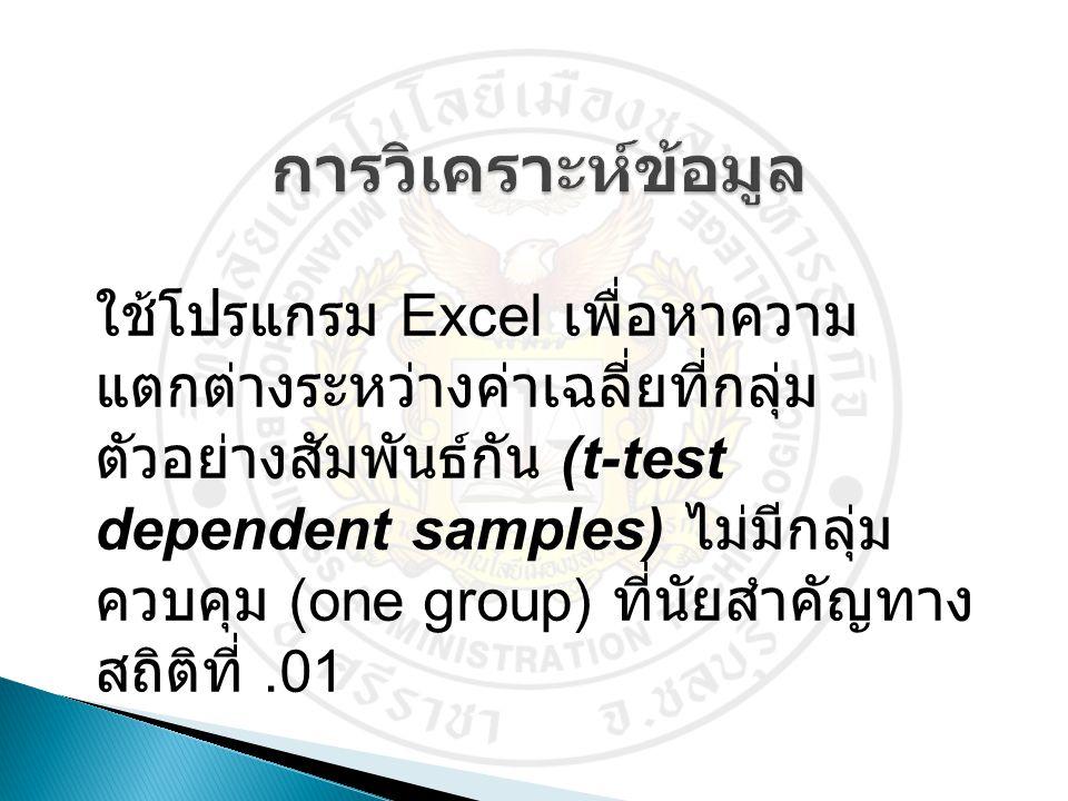 ใช้โปรแกรม Excel เพื่อหาความ แตกต่างระหว่างค่าเฉลี่ยที่กลุ่ม ตัวอย่างสัมพันธ์กัน (t-test dependent samples) ไม่มีกลุ่ม ควบคุม (one group) ที่นัยสำคัญท