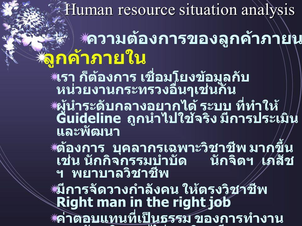 Human resource situation analysis  ลูกค้าภายใน  เรา ก็ต้องการ เชื่อมโยงข้อมูลกับ หน่วยงานกระทรวงอื่นๆเช่นกัน  ผู้นำระดับกลางอยากได้ ระบบ ที่ทำให้ Guideline ถูกนำไปใช้จริง มีการประเมิน และพัฒนา  ต้องการ บุคลากรเฉพาะวิชาชีพ มากขึ้น เช่น นักกิจกรรมบำบัด นักจิตฯ เภสัช ฯ พยาบาลวิชาชีพ  มีการจัดวางกำลังคน ให้ตรงวิชาชีพ Right man in the right job  ค่าตอบแทนที่เป็นธรรม ของการทำงาน ตรงพันธกิจ แต่ไม่ตรงวิชาชีพ  การกระจายการพัฒนาคน ให้ทั่วถึงทั้ง สายวิชาชีพ และ สายสนับสนุน  ความต้องการของลูกค้าภายนอก / ภายใน