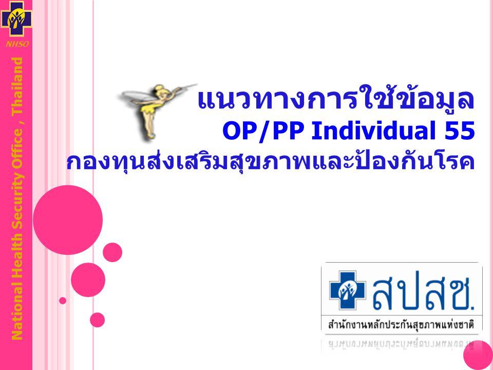 NHSO National Health Security Office, Thailand แนวทางการใช้ข้อมูล OP/PP Individual 55 กองทุนส่งเสริมสุขภาพและป้องกันโรค