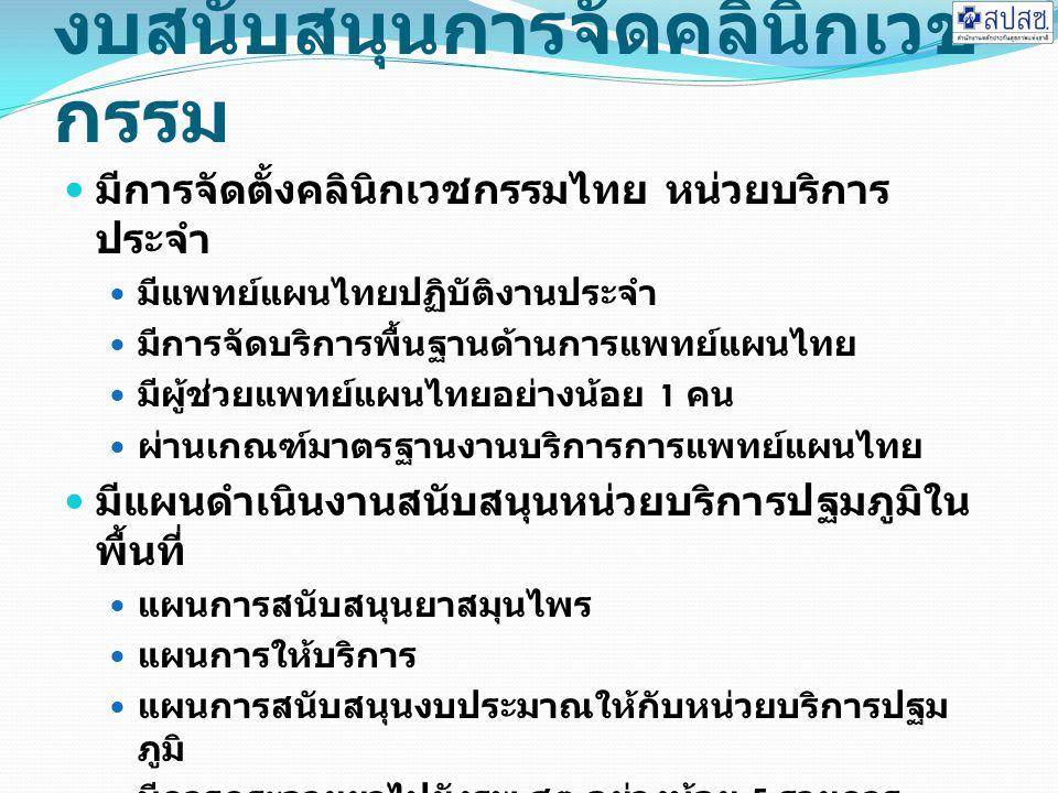 งบสนับสนุนการจัดคลินิกเวช กรรม มีการจัดตั้งคลินิกเวชกรรมไทย หน่วยบริการ ประจำ มีแพทย์แผนไทยปฏิบัติงานประจำ มีการจัดบริการพื้นฐานด้านการแพทย์แผนไทย มีผู้ช่วยแพทย์แผนไทยอย่างน้อย 1 คน ผ่านเกณฑ์มาตรฐานงานบริการการแพทย์แผนไทย มีแผนดำเนินงานสนับสนุนหน่วยบริการปฐมภูมิใน พื้นที่ แผนการสนับสนุนยาสมุนไพร แผนการให้บริการ แผนการสนับสนุนงบประมาณให้กับหน่วยบริการปฐม ภูมิ มีการกระจายยาไปยังรพ.