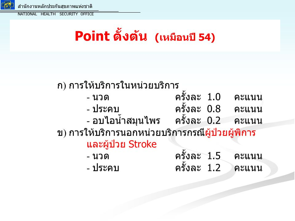 สำนักงานหลักประกันสุขภาพแห่งชาติ NATIONAL HEALTH SECURITY OFFICE สำนักงานหลักประกันสุขภาพแห่งชาติ NATIONAL HEALTH SECURITY OFFICE การคำนวณค่า K ของแต่ละหน่วยบริการ ( นำค่า K คูณ ผลรวม Point = Point ที่นำไปคิดเงิน ) K= (0.8xA) + (0.2xB)+ C A คือ จำนวนผู้ประกอบโรคศิลปะ ที่ประจำในหน่วย บริการนั้น B คือ จำนวนผู้ช่วยแพทย์แผนไทยที่จบหลักสูตร อย่างน้อย 330 ชั่วโมงขึ้นไปจากสถาบันที่ได้รับการ รับรองจากคณะกรรมการวิชาชีพสาขาการแพทย์ แผนไทยและผู้ที่จบหลักสูตรแพทย์แผนไทย / แพทย์ แผนไทยประยุกต์ที่ยังไม่ได้ใบประกอบโรคศิลปะฯ ที่ประจำในหน่วยบริการนั้น C คือ A:B โดยกำหนดไว้ดังนี้ กรณีที่ 1 สัดส่วน 1 : น้อยกว่าหรือเท่ากับ 4 [1/1 ถึง 1/4 ]= 0.25 ถึง 1 คะแนน C = 2.0 กรณีที่ 2 สัดส่วน 1 : 5-10 [1/5 ถึง 1/10] = 0.1 ถึง 0.2 คะแนน C = 0.5