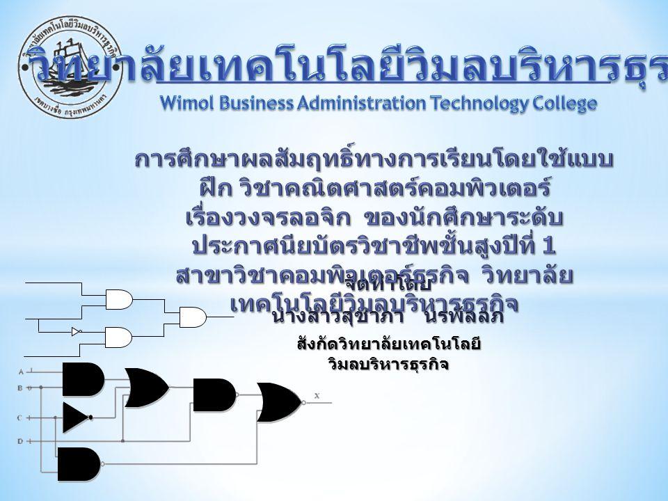 จัดทำโดย นางสาวสุชาภา นรพัลลภ สังกัดวิทยาลัยเทคโนโลยี วิมลบริหารธุรกิจ