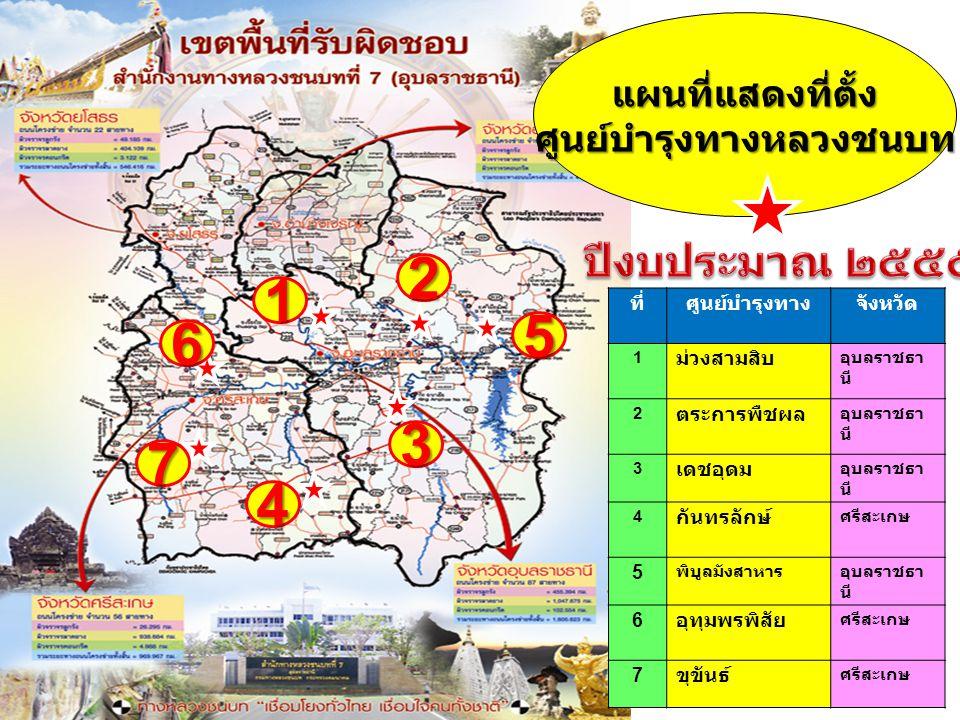 1 2 3 4 แผนที่แสดงที่ตั้งศูนย์บำรุงทางหลวงชนบท ที่ศูนย์บำรุงทางจังหวัด 1 ม่วงสามสิบ อุบลราชธา นี 2 ตระการพืชผล อุบลราชธา นี 3 เดชอุดม อุบลราชธา นี 4 ก