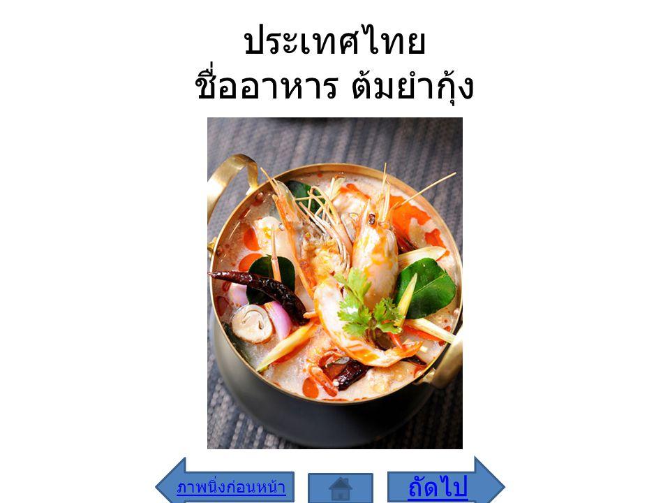 ประเทศไทย ชื่ออาหาร ต้มยำกุ้ง ภาพนิ่งก่อนหน้า ถัดไป