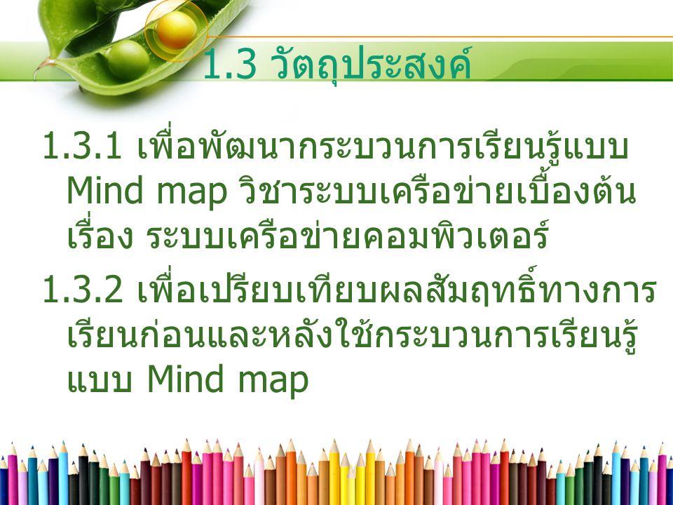 1.3 วัตถุประสงค์ 1.3.1 เพื่อพัฒนากระบวนการเรียนรู้แบบ Mind map วิชาระบบเครือข่ายเบื้องต้น เรื่อง ระบบเครือข่ายคอมพิวเตอร์ 1.3.2 เพื่อเปรียบเทียบผลสัมฤ