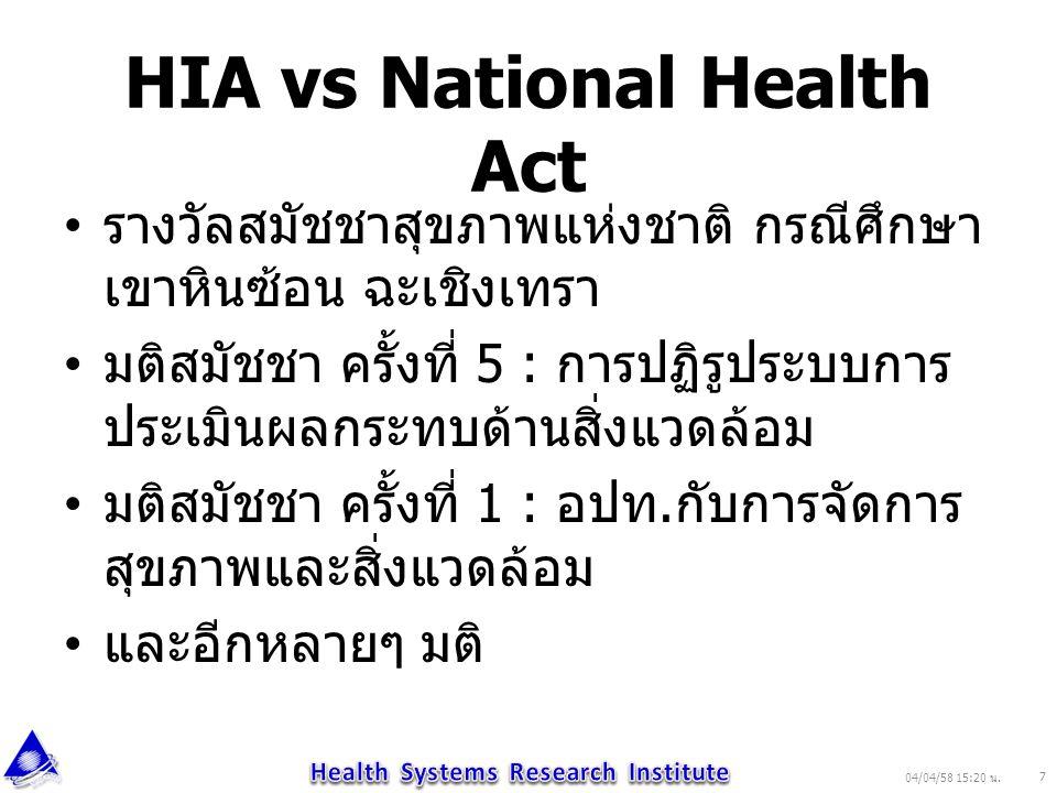 HIA vs National Health Act รางวัลสมัชชาสุขภาพแห่งชาติ กรณีศึกษา เขาหินซ้อน ฉะเชิงเทรา มติสมัชชา ครั้งที่ 5 : การปฏิรูประบบการ ประเมินผลกระทบด้านสิ่งแว