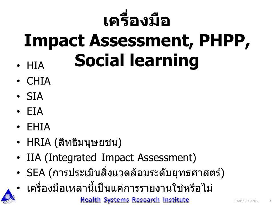 เครื่องมือ Impact Assessment, PHPP, Social learning HIA CHIA SIA EIA EHIA HRIA ( สิทธิมนุษยชน ) IIA (Integrated Impact Assessment) SEA ( การประเมินสิ่