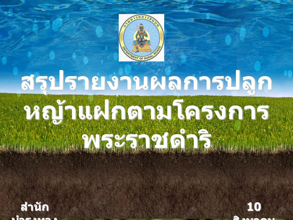 10 สิงหาคม 2555 สรุปรายงานผลการปลูก หญ้าแฝกตามโครงการ พระราชดำริ สำนัก บำรุงทาง