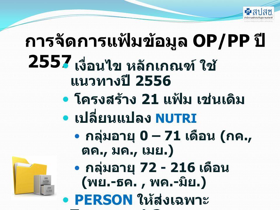 การจัดการแฟ้มข้อมูล OP/PP ปี 2557 เงื่อนไข หลักเกณฑ์ ใช้ แนวทางปี 2556 โครงสร้าง 21 แฟ้ม เช่นเดิม เปลี่ยนแปลง NUTRI กลุ่มอายุ 0 – 71 เดือน ( กค., ตค., มค., เมย.) กลุ่มอายุ 72 - 216 เดือน ( พย.- ธค., พค.- มิย.) PERSON ให้ส่งเฉพาะ Typearea 1,3 PERSON,CHRONIC ส่ง ภายใน ตุลาคม 2556