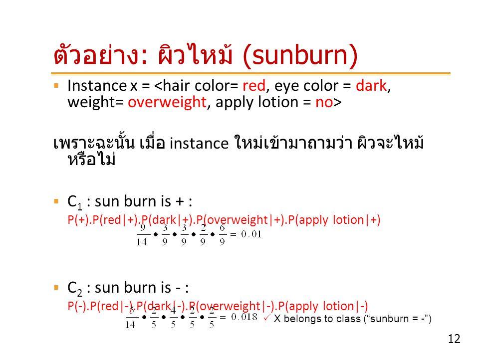 12 ตัวอย่าง : ผิวไหม้ (sunburn)  Instance x = เพราะฉะนั้น เมื่อ instance ใหม่เข้ามาถามว่า ผิวจะไหม้ หรือไม่  C 1 : sun burn is + : P(+).P(red +).P(d