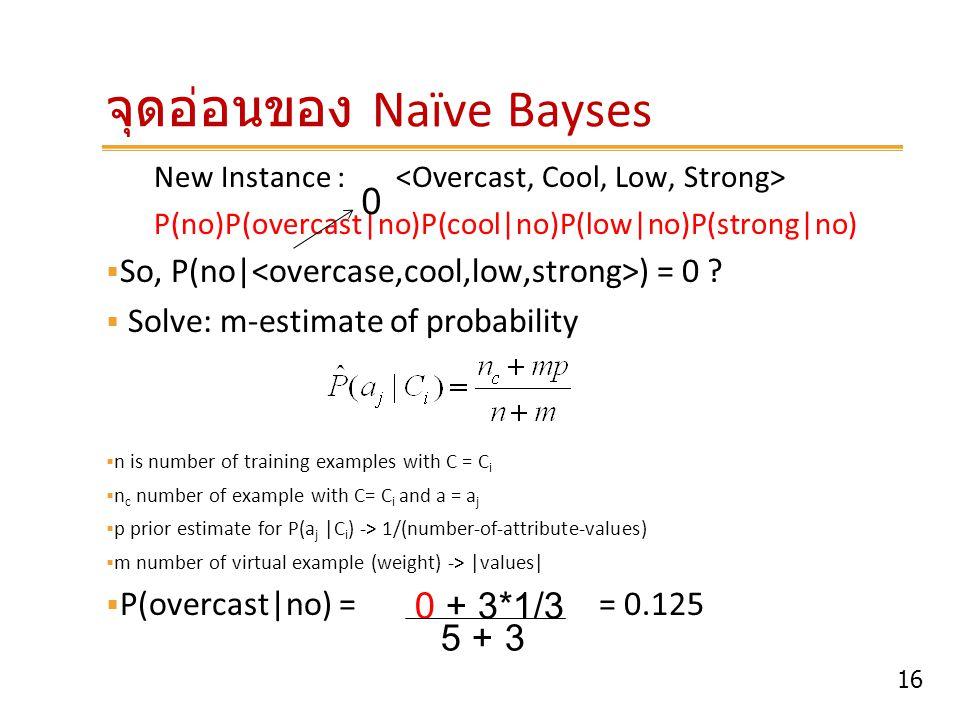 16 จุดอ่อนของ Naïve Bayses New Instance : P(no)P(overcast no)P(cool no)P(low no)P(strong no)  So, P(no  ) = 0 ?  Solve: m-estimate of probability 