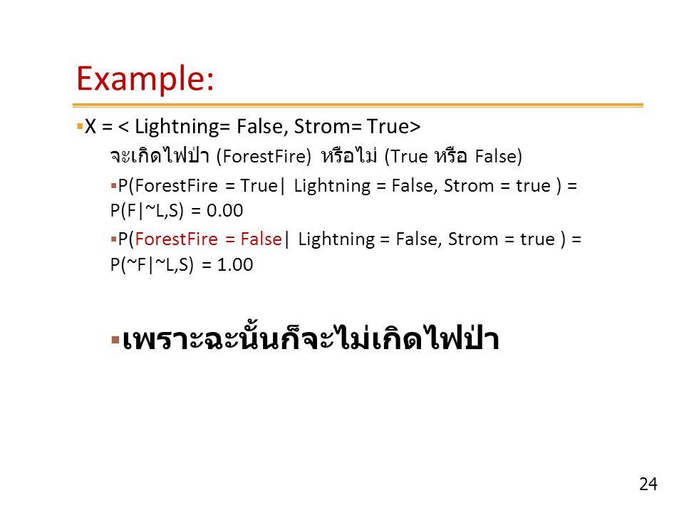 24 Example:  X = จะเกิดไฟป่า (ForestFire) หรือไม่ (True หรือ False)  P(ForestFire = True  Lightning = False, Strom = true ) = P(F ~L,S) = 0.00  P(F