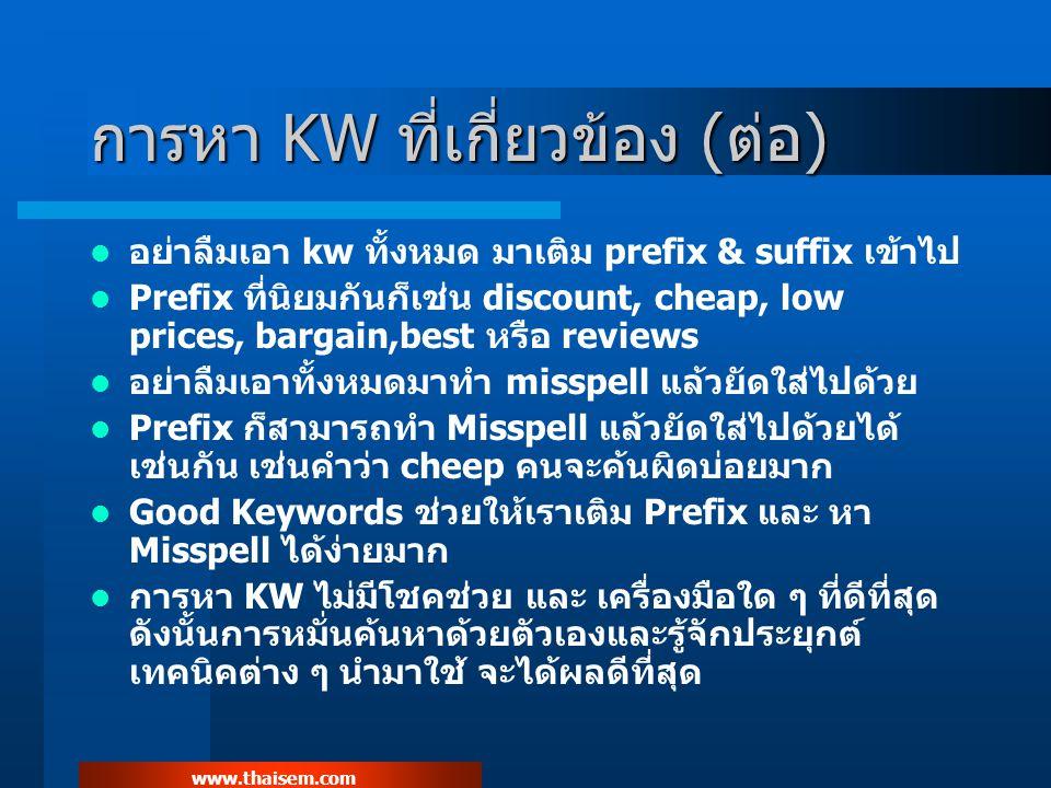 www.thaisem.com การหา KW ที่เกี่ยวข้อง (ต่อ) อย่าลืมเอา kw ทั้งหมด มาเติม prefix & suffix เข้าไป Prefix ที่นิยมกันก็เช่น discount, cheap, low prices, bargain,best หรือ reviews อย่าลืมเอาทั้งหมดมาทำ misspell แล้วยัดใส่ไปด้วย Prefix ก็สามารถทำ Misspell แล้วยัดใส่ไปด้วยได้ เช่นกัน เช่นคำว่า cheep คนจะค้นผิดบ่อยมาก Good Keywords ช่วยให้เราเติม Prefix และ หา Misspell ได้ง่ายมาก การหา KW ไม่มีโชคช่วย และ เครื่องมือใด ๆ ที่ดีที่สุด ดังนั้นการหมั่นค้นหาด้วยตัวเองและรู้จักประยุกต์ เทคนิคต่าง ๆ นำมาใช้ จะได้ผลดีที่สุด