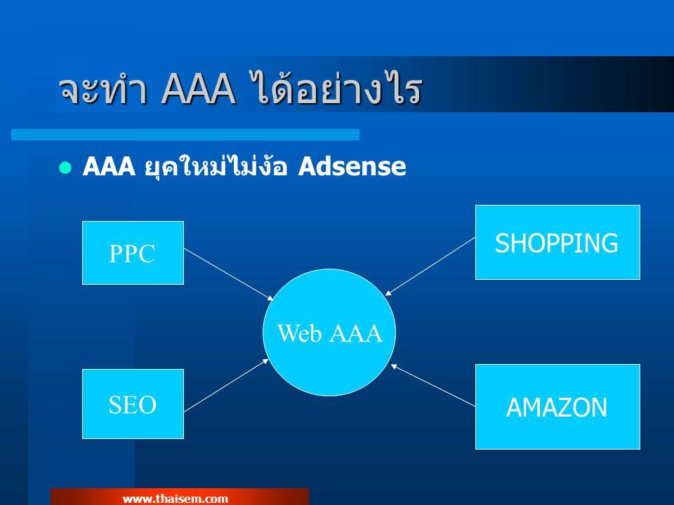 www.thaisem.com การเอา Keyword ทำเงินมาทำ AAA ถ้าเราเจอ KW ทำเงินและทำขั้นตอนต่าง ๆ ครบแล้ว เรา สามารถเอา KW นั้นมาทำ AAA ต่อได้อีกด้วย สร้าง website ใหม่ด้วย KW ที่ทำเงิน ส่ง Traffic เข้าไปหน้า Amazon Product List หรือ Shopping Product List เท่านั้น ติด Adsense ขนาด 336 ที่กึ่งกลางหน้าเว็บ ด้านบน และ กึ่งกลางหน้าเว็บ ด้านล่าง หรือ ใครจะจัดซ้ายหรือขวาก็ได้ ให้ ลอง split test เอา ส่ง KW จาก adcenter 0.05 และ ysm 0.10 เท่านั้น ห้ามส่ง จาก Adwords เด็ดขาด ทำ Split Test KW ทำเงินด้วย การติด Shopping Widget แทน Adsense ด้วย (สามารถส่งจาก adwords ได้ด้วย) สิ่งสำคัญที่สุดในการทำ AAA คือการ Track Channel และ SPLIT TEST