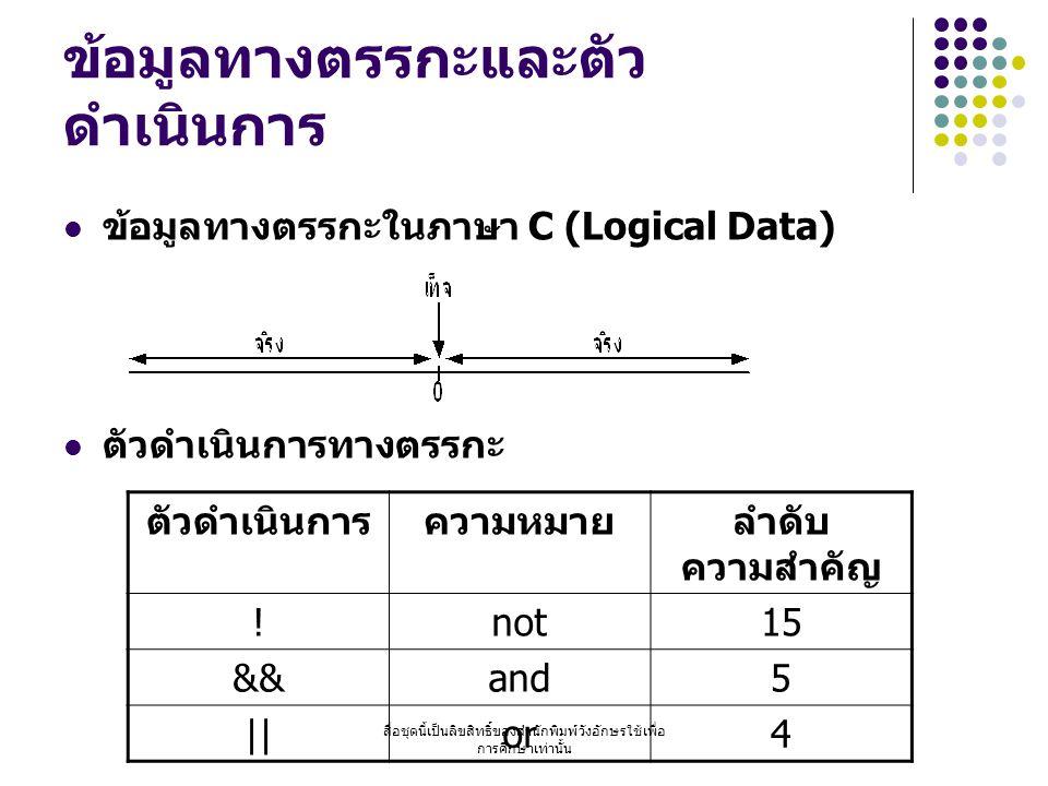 สื่อชุดนี้เป็นลิขสิทธิ์ของสำนักพิมพ์วังอักษรใช้เพื่อ การศึกษาเท่านั้น ข้อมูลทางตรรกะและตัว ดำเนินการ ข้อมูลทางตรรกะในภาษา C (Logical Data) ตัวดำเนินการทางตรรกะ ตัวดำเนินการความหมายลำดับ ความสำคัญ !not15 &&and5 ||or4