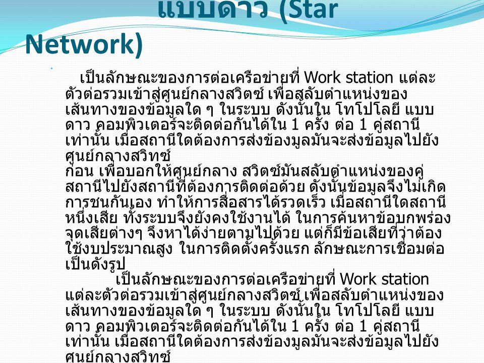 แบบดาว (Star Network) เป็นลักษณะของการต่อเครือข่ายที่ Work station แต่ละ ตัวต่อรวมเข้าสู่ศูนย์กลางสวิตซ์ เพื่อสลับตำแหน่งของ เส้นทางของข้อมูลใด ๆ ในระ