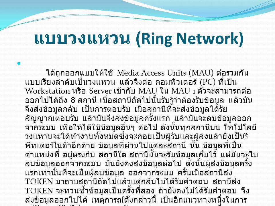 แบบวงแหวน (Ring Network) ได้ถูกออกแบบให้ใช้ Media Access Units (MAU) ต่อรวมกัน แบบเรียงลำดับเป็นวงแหวน แล้วจึงต่อ คอมพิวเตอร์ (PC) ที่เป็น Workstation หรือ Server เข้ากับ MAU ใน MAU 1 ตัวจะสามารถต่อ ออกไปได้ถึง 8 สถานี เมื่อสถานีถัดไปนั้นรับรู้ว่าต้องรับข้อมูล แล้วมัน จึงส่งข้อมูลกลับ เป็นการตอบรับ เมื่อสถานีที่จะส่งข้อมูลได้รัย สัญญาณตอบรับ แล้วมันจึงส่งข้อมูลครั้งแรก แล้วมันจะลบข้อมูลออก จากระบบ เพื่อให้ได้ใช้ข้อมูลอื่นๆ ต่อไป ดังนั้นทุกสถานีบน โทโปโลยี วงแหวนจะได้ทำงานทั้งหมดซึ่งจะคอยเป็นผู้รับและผู้ส่งแล้วยังเป็นรี พีทเตอร์ในตัวอีกด้วย ข้อมูลที่ผ่านไปแต่ละสถานี นั้น ข้อมูลที่เป็น ตำแหน่งที่ อยู่ตรงกับ สถานีใด สถานีนั้นจะรับข้อมูลเก็บไว้ แต่มันจะไม่ ลบข้อมูลออกจากระบบ มันยังคงส่งข้อมูลต่อไป ดังนั้นผู้ส่งข้อมูลครั้ง แรกเท่านั้นที่จะเป็นผู้ลบข้อมูล ออกจากระบบ ครั้นเมื่อสถานีส่ง TOKEN มาถามสถานีถัดไปแล้วแต่กลับไม่ได้รับคำตอบ สถานีส่ง TOKEN จะทวนซ้ำข้อมูลเป็นครั้งที่สอง ถ้ายังคงไม่ได้รับคำตอบ จึง ส่งข้อมูลออกไปได้ เหตุการณ์ดังกล่าวนี้ เป็นอีกแนวทางหนึ่งในการ แก้ปัญหาที่ไม่ให้ระบบหยุดชะงักการทำงานลงของระบบ เนื่องจาก สถานีหนึ่งเกิดการเสียหาย หรือชำรุด ระบบจึงยังคงสามารถทำงาน ต่อไปได้ ลักษณะการเชื่อมต่อ เป็นดังรูป