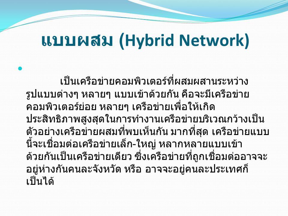 แบบผสม (Hybrid Network) เป็นเครือข่ายคอมพิวเตอร์ที่ผสมผสานระหว่าง รูปแบบต่างๆ หลายๆ แบบเข้าด้วยกัน คือจะมีเครือข่าย คอมพิวเตอร์ย่อย หลายๆ เครือข่ายเพื่อให้เกิด ประสิทธิภาพสูงสุดในการทำงานเครือข่ายบริเวณกว้างเป็น ตัวอย่างเครือข่ายผสมที่พบเห็นกัน มากที่สุด เครือข่ายแบบ นี้จะเชื่อมต่อเครือข่ายเล็ก - ใหญ่ หลากหลายแบบเข้า ด้วยกันเป็นเครือข่ายเดียว ซึ่งเครือข่ายที่ถูกเชื่อมต่ออาจจะ อยู่ห่างกันคนละจังหวัด หรือ อาจจะอยู่คนละประเทศก็ เป็นได้