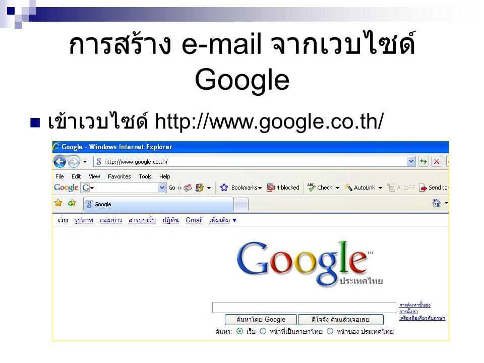 การสร้าง e-mail จากเวบไซด์ Google เข้าเวบไซด์ http://www.google.co.th/