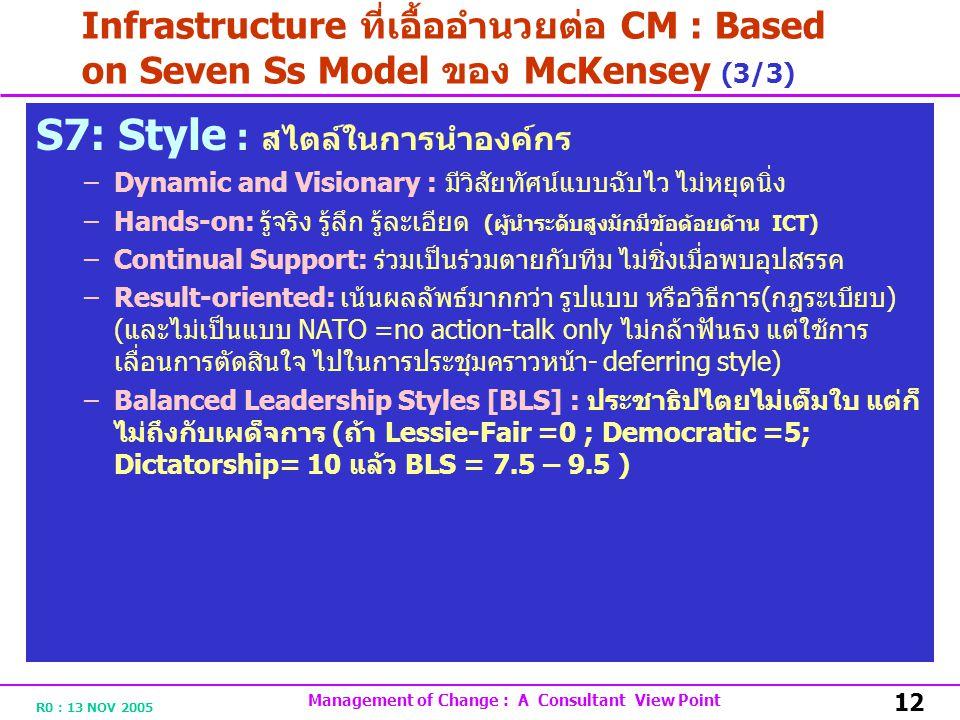R0 : 13 NOV 2005 Management of Change : A Consultant View Point 12 Infrastructure ที่เอื้ออำนวยต่อ CM : Based on Seven Ss Model ของ McKensey (3/3) S7: Style : สไตล์ในการนำองค์กร –Dynamic and Visionary : มีวิสัยทัศน์แบบฉับไว ไม่หยุดนิ่ง –Hands-on: รู้จริง รู้ลึก รู้ละเอียด ( ผู้นำระดับสูงมักมีข้อด้อยด้าน ICT) –Continual Support: ร่วมเป็นร่วมตายกับทีม ไม่ชิ่งเมื่อพบอุปสรรค –Result-oriented: เน้นผลลัพธ์มากกว่า รูปแบบ หรือวิธีการ ( กฎระเบียบ ) ( และไม่เป็นแบบ NATO =no action-talk only ไม่กล้าฟันธง แต่ใช้การ เลื่อนการตัดสินใจ ไปในการประชุมคราวหน้า - deferring style) –Balanced Leadership Styles [BLS] : ประชาธิปไตยไม่เต็มใบ แต่ก็ ไม่ถึงกับเผด็จการ ( ถ้า Lessie-Fair =0 ; Democratic =5; Dictatorship= 10 แล้ว BLS = 7.5 – 9.5 )