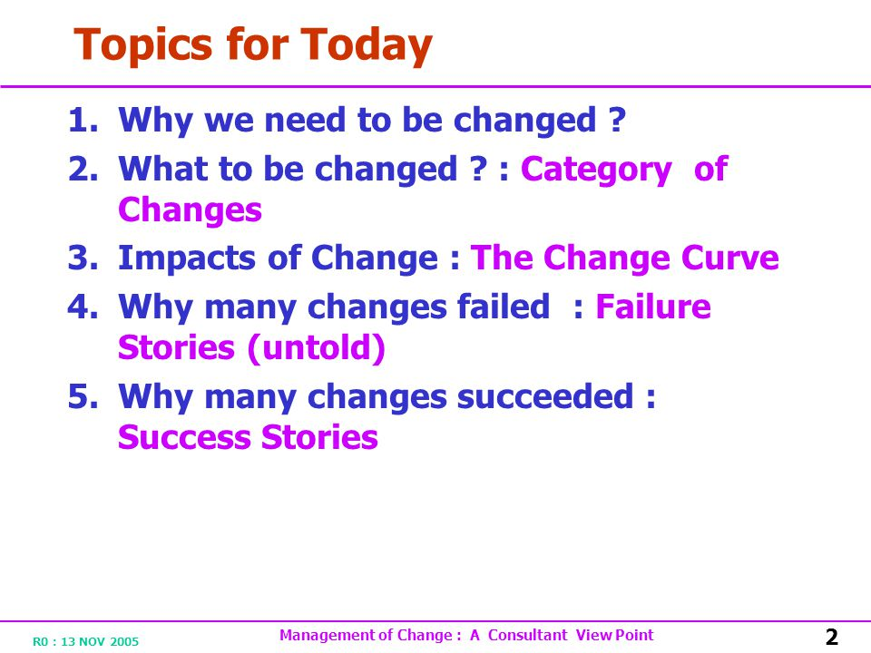 R0 : 13 NOV 2005 Management of Change : A Consultant View Point 2 Topics for Today 1.Why we need to be changed .