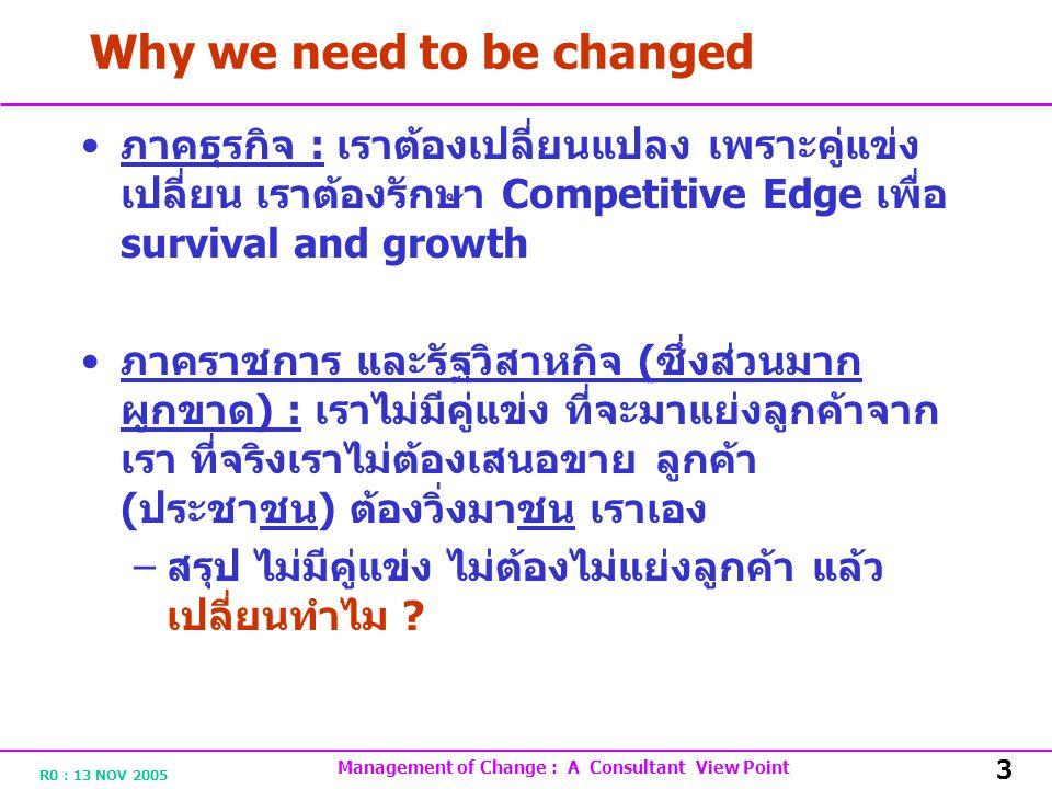 R0 : 13 NOV 2005 Management of Change : A Consultant View Point 3 Why we need to be changed ภาคธุรกิจ : เราต้องเปลี่ยนแปลง เพราะคู่แข่ง เปลี่ยน เราต้องรักษา Competitive Edge เพื่อ survival and growth ภาคราชการ และรัฐวิสาหกิจ ( ซึ่งส่วนมาก ผูกขาด ) : เราไม่มีคู่แข่ง ที่จะมาแย่งลูกค้าจาก เรา ที่จริงเราไม่ต้องเสนอขาย ลูกค้า ( ประชาชน ) ต้องวิ่งมาชน เราเอง – สรุป ไม่มีคู่แข่ง ไม่ต้องไม่แย่งลูกค้า แล้ว เปลี่ยนทำไม