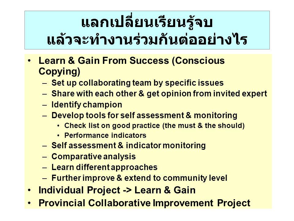 แลกเปลี่ยนเรียนรู้จบ แล้วจะทำงานร่วมกันต่ออย่างไร Learn & Gain From Success (Conscious Copying) –Set up collaborating team by specific issues –Share w