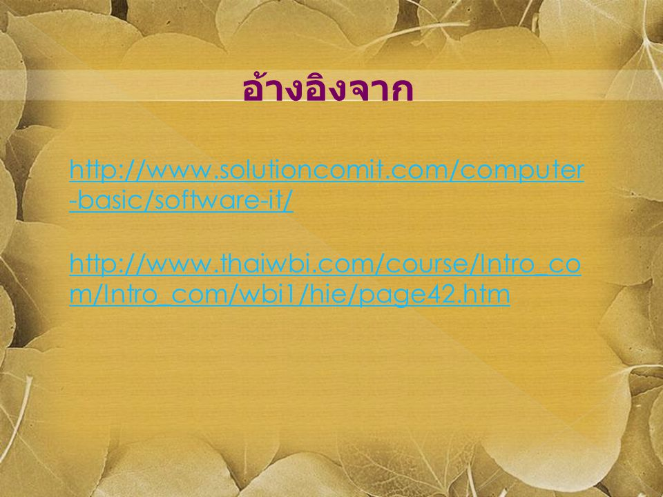 http://www.solutioncomit.com/computer -basic/software-it/ อ้างอิงจาก http://www.thaiwbi.com/course/Intro_co m/Intro_com/wbi1/hie/page42.htm