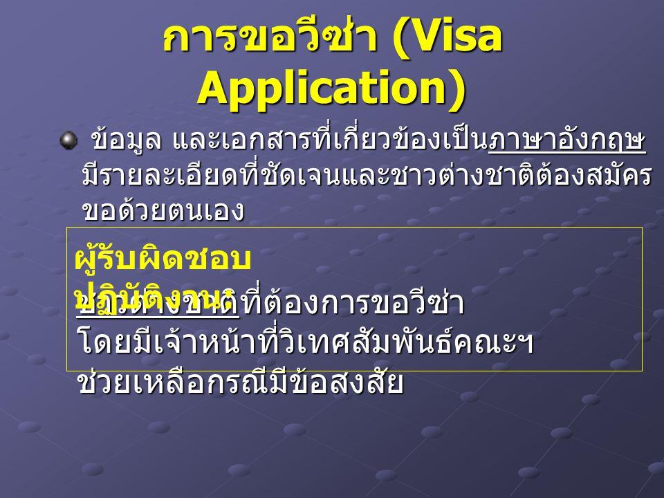 การขอวีซ่า (Visa Application) ข้อมูล และเอกสารที่เกี่ยวข้องเป็นภาษาอังกฤษ มีรายละเอียดที่ชัดเจนและชาวต่างชาติต้องสมัคร ขอด้วยตนเอง ข้อมูล และเอกสารที่