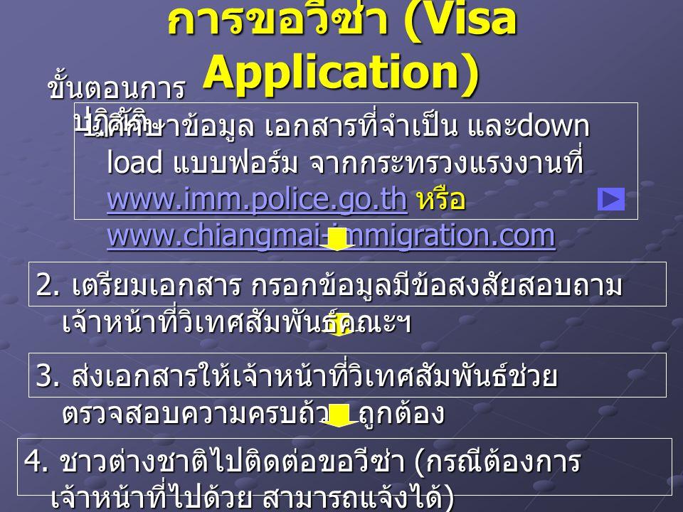 การขอวีซ่า (Visa Application) ขั้นตอนการ ปฏิบัติ 1. ศึกษาข้อมูล เอกสารที่จำเป็น และ down load แบบฟอร์ม จากกระทรวงแรงงานที่ www.imm.police.go.th หรือ w