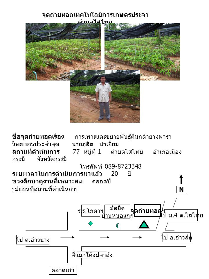 ชื่อจุดถ่ายทอดเรื่อง การเพาะและขยายพันธุ์ต้นกล้ายางพารา วิทยากรประจำจุด นายภูสิต น่าเยี่ยม สถานที่ดำเนินการ 77 หมู่ที่ 1 ตำบลไสไทย อำเภอเมือง กระบี่ จังหวัดกระบี่ โทรศัพท์ 089-8723348 ระยะเวลาในการดำเนินการมาแล้ว 20 ปี ช่วงศึกษาดูงานที่เหมาะสม ตลอดปี รูปแผนที่สถานที่ดำเนินการ จุดถ่ายทอดเทคโนโลยีการเกษตรประจำ ตำบลไสไทย N สี่แยกโค้งปลาลัง ตลาดเก่า ไป ต.