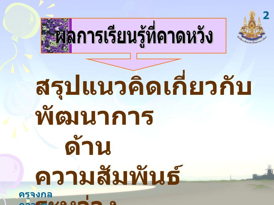 ครูจงกล กลางชล สาระ การเรียนรู้ แนวคิดเกี่ยวกับ พัฒนาการ ด้านความสัมพันธ์ ระหว่างประเทศของ ประเทศไทย 3
