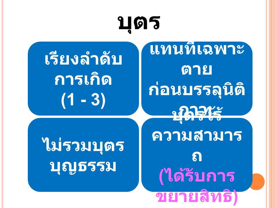 เรียงลำดับ การเกิด (1 - 3) แทนที่เฉพาะ ตาย ก่อนบรรลุนิติ ภาวะ ไม่รวมบุตร บุญธรรม บุตรไร้ ความสามาร ถ ( ได้รับการ ขยายสิทธิ ) บุตร