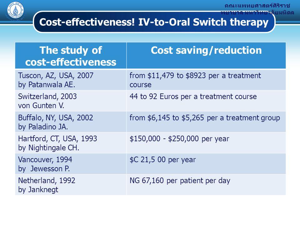 คณะแพทยศาสตร์ศิริราช พยาบาล มหาวิทยาลัยมหิดล Cost-effectiveness.