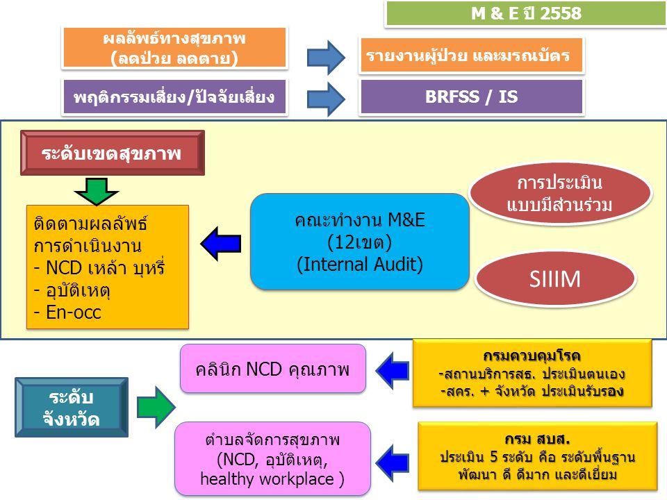 M & E ปี 2558 ติดตามผลลัพธ์ การดำเนินงาน - NCD เหล้า บุหรี่ - อุบัติเหตุ - En-occ ติดตามผลลัพธ์ การดำเนินงาน - NCD เหล้า บุหรี่ - อุบัติเหตุ - En-occ ระดับเขตสุขภาพ คณะทำงาน M&E (12เขต) (Internal Audit) คณะทำงาน M&E (12เขต) (Internal Audit) SIIIM การประเมิน แบบมีส่วนร่วม ระดับ จังหวัด ตำบลจัดการสุขภาพ (NCD, อุบัติเหตุ, healthy workplace ) ตำบลจัดการสุขภาพ (NCD, อุบัติเหตุ, healthy workplace ) คลินิก NCD คุณภาพ กรม สบส.