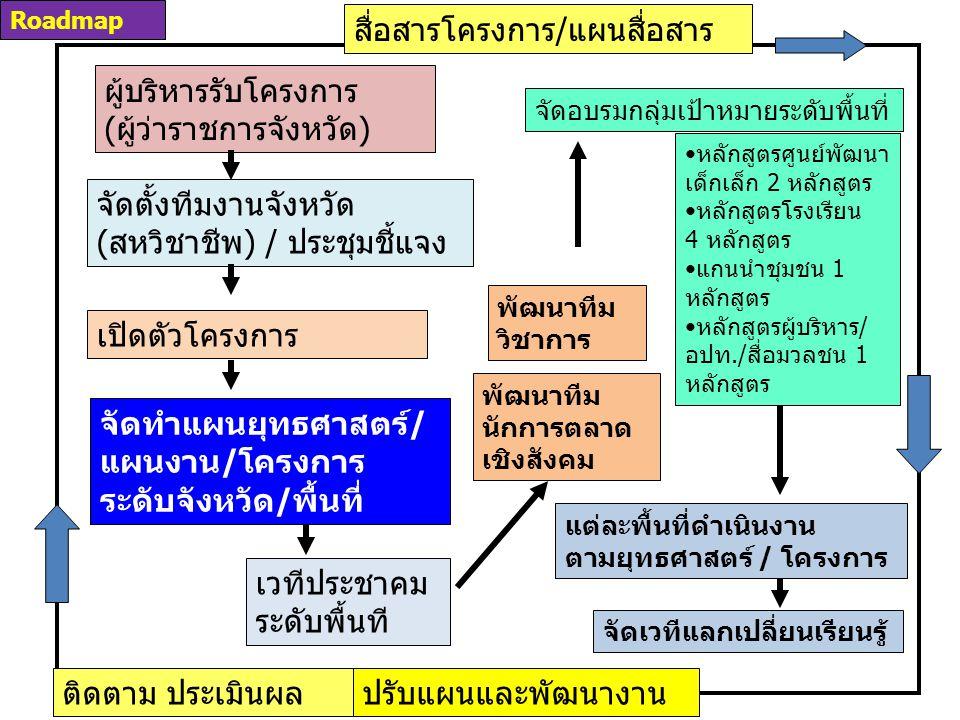 ผู้บริหารรับโครงการ (ผู้ว่าราชการจังหวัด) จัดตั้งทีมงานจังหวัด (สหวิชาชีพ) / ประชุมชี้แจง สื่อสารโครงการ/แผนสื่อสาร เปิดตัวโครงการ จัดทำแผนยุทธศาสตร์/ แผนงาน/โครงการ ระดับจังหวัด/พื้นที่ พัฒนาทีม นักการตลาด เชิงสังคม พัฒนาทีม วิชาการ จัดอบรมกลุ่มเป้าหมายระดับพื้นที่ หลักสูตรศูนย์พัฒนา เด็กเล็ก 2 หลักสูตร หลักสูตรโรงเรียน 4 หลักสูตร แกนนำชุมชน 1 หลักสูตร หลักสูตรผู้บริหาร/ อปท./สื่อมวลชน 1 หลักสูตร แต่ละพื้นที่ดำเนินงาน ตามยุทธศาสตร์ / โครงการ เวทีประชาคม ระดับพื้นที จัดเวทีแลกเปลี่ยนเรียนรู้ ติดตาม ประเมินผลปรับแผนและพัฒนางาน Roadmap