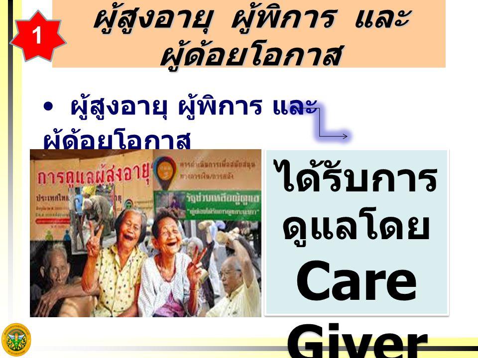 ผู้สูงอายุ ผู้พิการ และ ผู้ด้อยโอกาส ได้รับการ ดูแลโดย Care Giver ได้รับการ ดูแลโดย Care Giver 1
