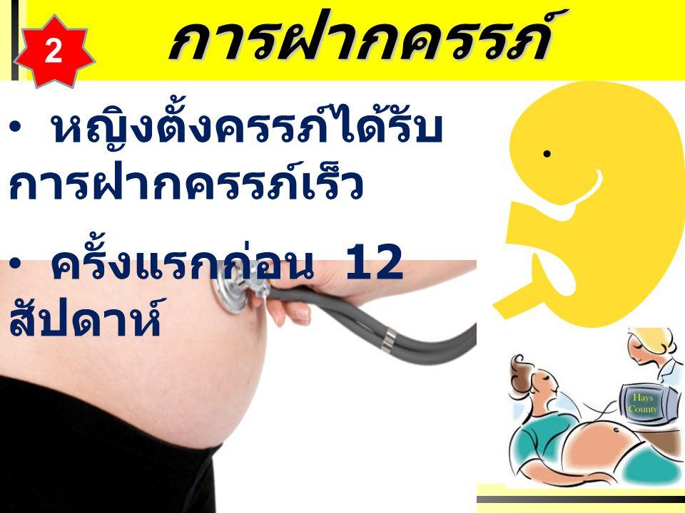 การฝากครรภ์ หญิงตั้งครรภ์ได้รับ การฝากครรภ์เร็ว ครั้งแรกก่อน 12 สัปดาห์ 2