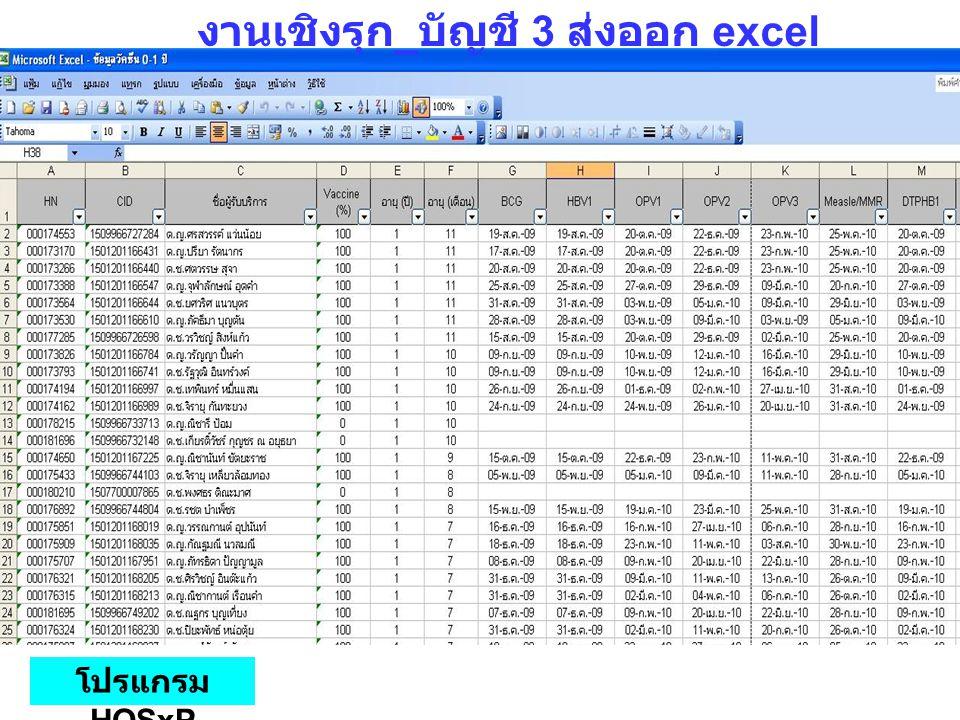 งานเชิงรุก _ บัญชี 3 ส่งออก excel โปรแกรม HOSxP