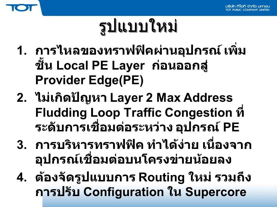 รูปแบบใหม่ 1. การไหลของทราฟฟิคผ่านอุปกรณ์ เพิ่ม ชั้น Local PE Layer ก่อนออกสู่ Provider Edge(PE) 2. ไม่เกิดปัญหา Layer 2 Max Address Fludding Loop Tra