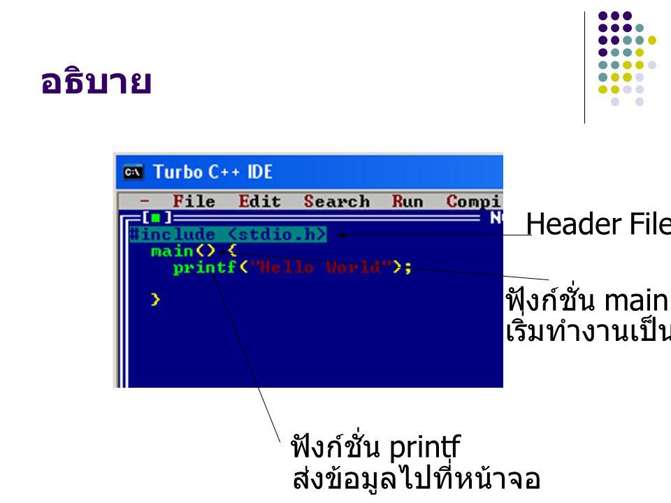 อธิบาย Header File ฟังก์ชั่น main ฟังก์ชั่น printf เริ่มทำงานเป็นที่แรก ส่งข้อมูลไปที่หน้าจอ